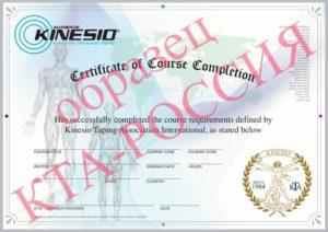 Образец сертификата по кинезиотейпированию